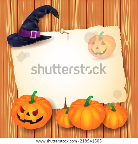 Halloween background with blank paper, hat and pumpkins. Vector eps 10