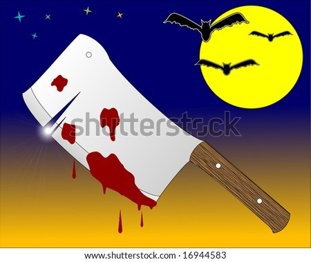 halloween background with bloody butcher knife - stock vector