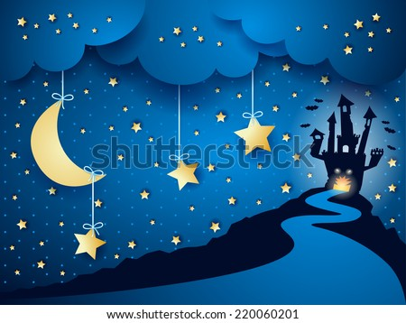 Halloween background with castle and moon, vector eps 10 - stock vector