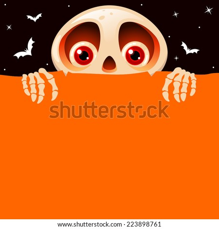 Halloween background with cute skeleton character - stock vector