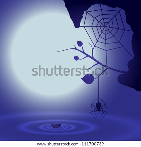 Halloween background with full moon and spider. EPS10 vector. - stock vector