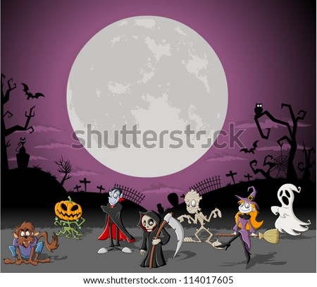 Halloween background with full moon over a cemetery with funny cartoon classic monster characters - stock vector