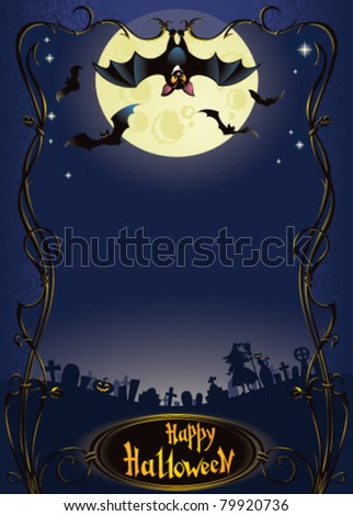 Halloween background with funny bat and graveyard - stock vector