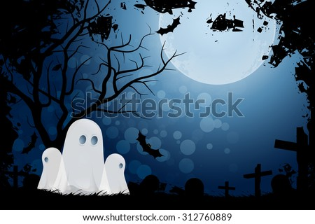 Halloween Background with Ghost and Graveyard in Grass - stock vector
