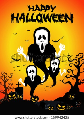 Halloween Background with ghost ,pumpkins in the Grass Bats and Moon in the dark  - stock vector
