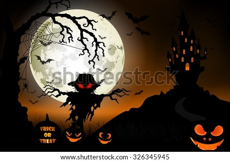 Halloween background with ghost, scary house and pumpkins on the full moon. Vector - stock vector