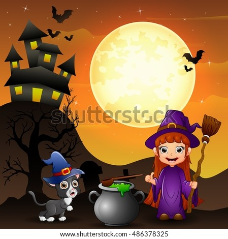 Halloween background with girl witch holding broomstick and cauldron and kitten witch .Vector illustration