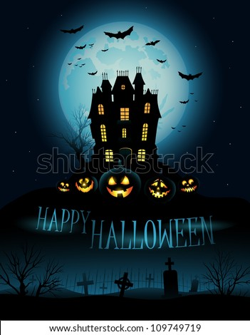 Halloween Background with haunted house - stock vector