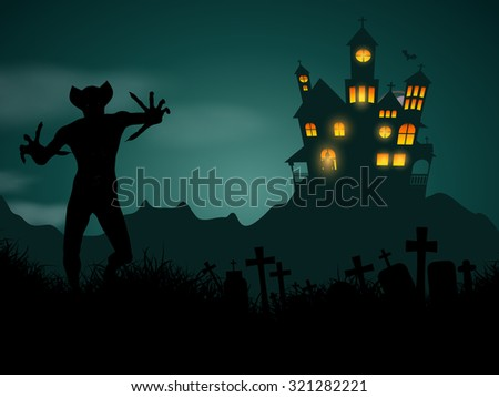 Halloween background with haunted house and demonic figure - stock vector
