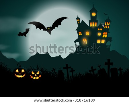 Halloween background with haunted house and pumpkins - stock vector