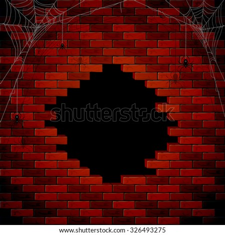 Halloween background with hole of the brick wall, illustration. - stock vector