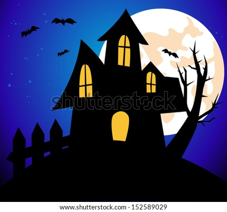 Halloween background with House - stock vector