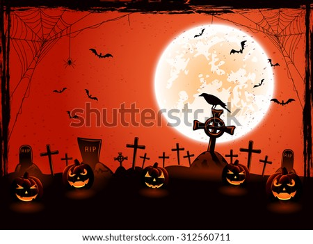 Halloween background with Moon and pumpkins on the cemetery and, illustration. - stock vector