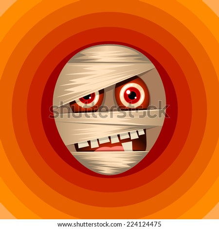 Halloween background with mummy character - stock vector