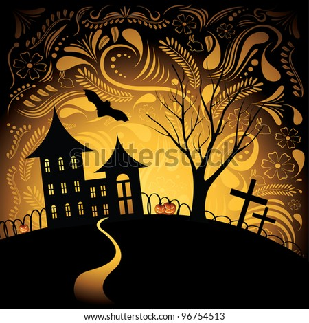 Halloween background with pumpkin, night bat, tree and house - stock vector