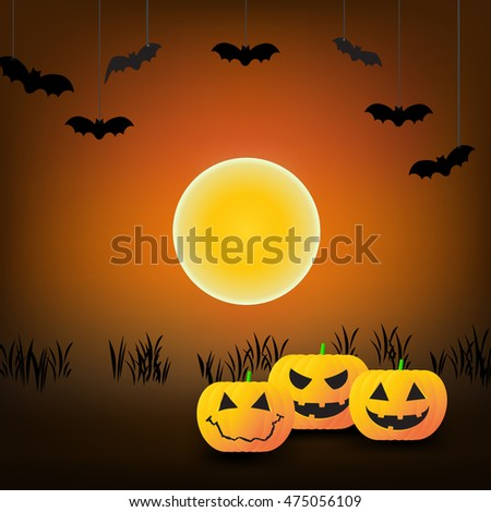 Halloween Background with Pumpkins, bats and moon