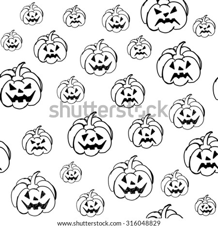 Halloween background with pumpkins. Vector pattern. Endless texture can be used for printing onto fabric, paper or scrap booking, wallpaper, pattern fills, web page background, surface texture. - stock vector