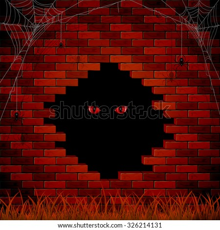 Halloween background with red evil eye in the hole of the brick wall, illustration. - stock vector