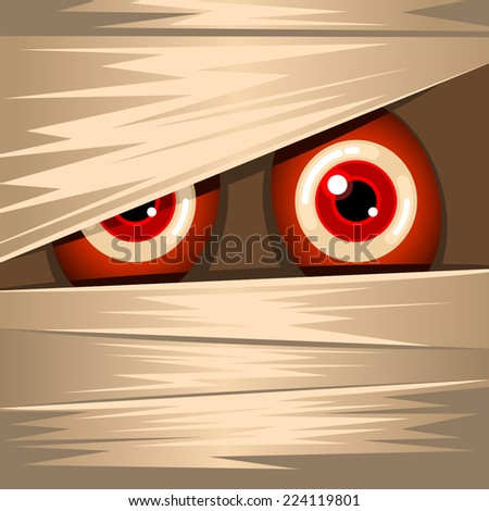 Halloween background with red googly eyes mummy - stock vector
