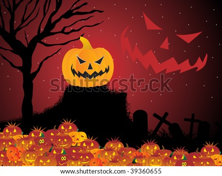 halloween background with retro tree, collection of pumpkin