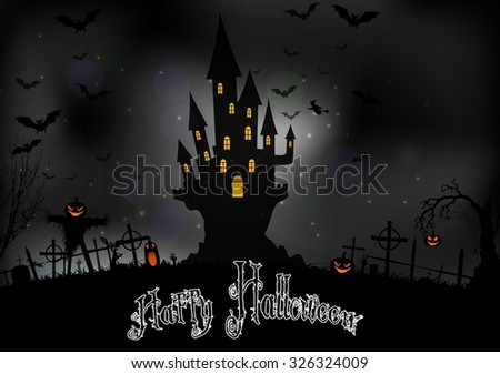 Halloween background with scary house.Vector