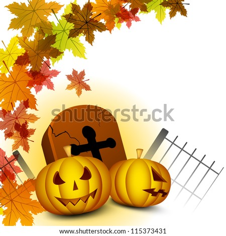 Halloween background with scary pumpkin, grave stone and autumn leaves. EPS 10.
