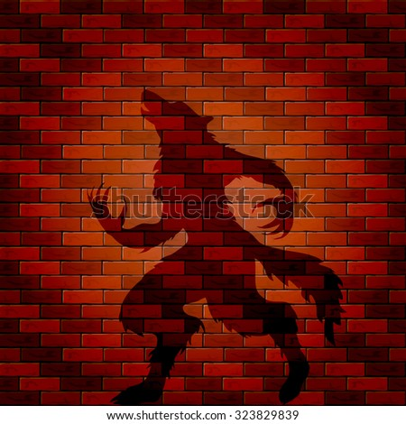 Halloween background with shadow of werewolf on a brick wall, illustration. - stock vector