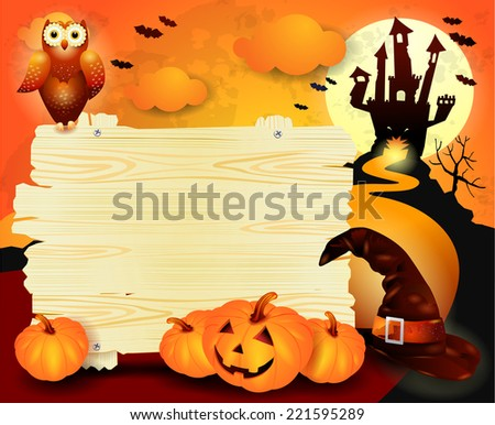 Halloween background with sign, in orange. Vector eps 10 - stock vector