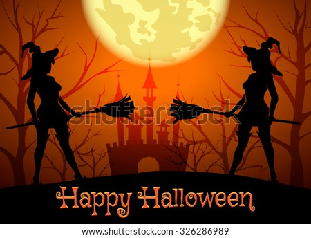Halloween background with silhouettes of witches and lettering Happy Halloween.  - stock vector