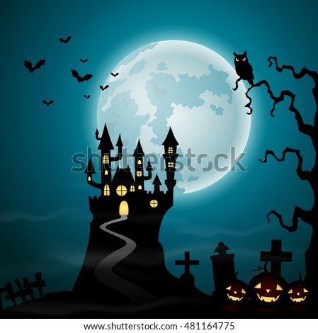 Halloween background with spooky castle and graveyard