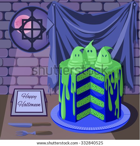 Halloween background with spooky ghost cake placed in medieval castle at midnight. Event poster, greeting card, part of game design.
