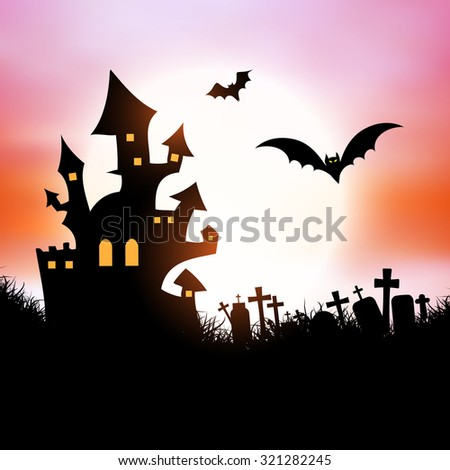 Halloween background with spooky house and bats