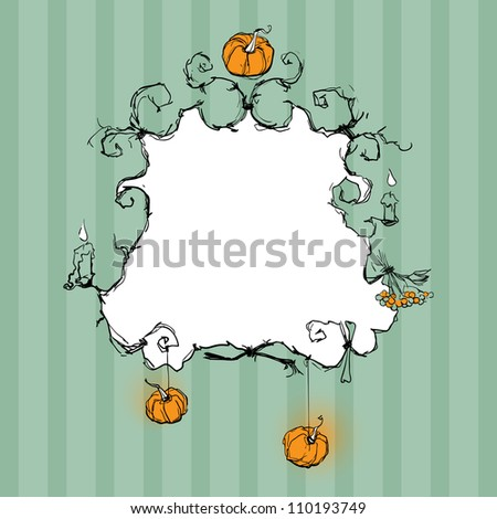 Halloween background with the frame decorated with pumpkins, candles and twigs - stock vector