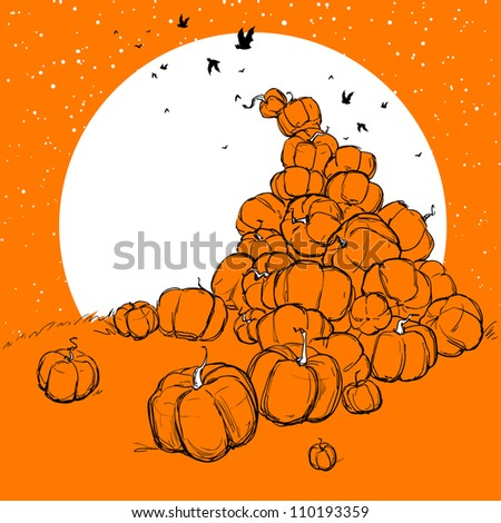 Halloween background with the heap of pumpkins - stock vector