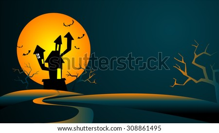 Halloween Background with the mysterious house against the big moon - stock vector