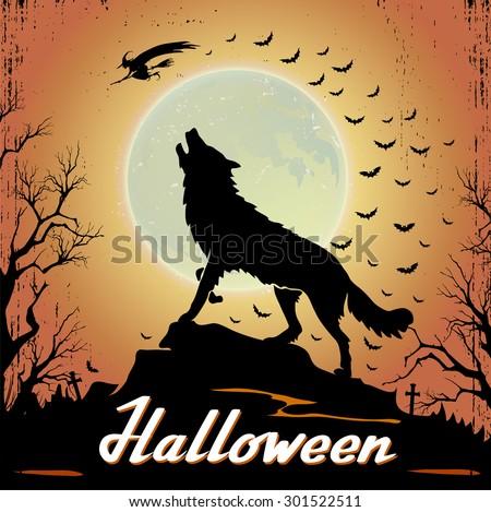 Halloween Background With Werewolf - stock vector
