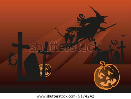 Halloween background with witch, bat and pumpkin, vector illustration