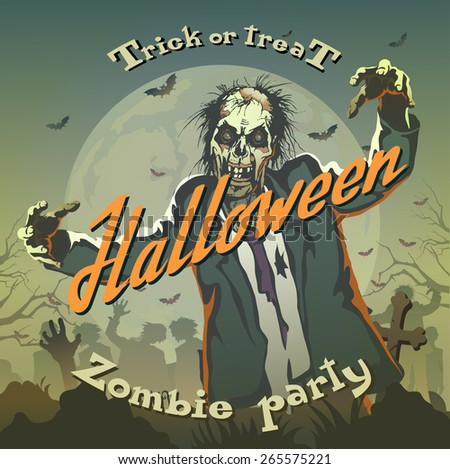 halloween background with zombie - stock vector