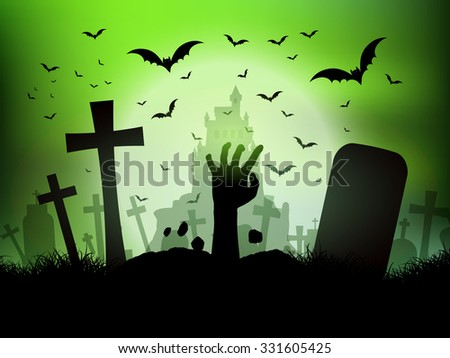 Halloween background with zombie hand - stock vector