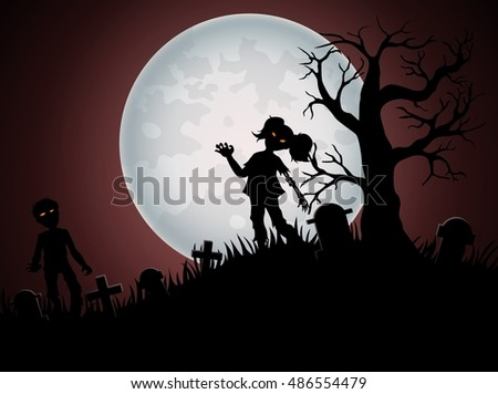 Halloween background with zombies and the moon on the cemetery.Vector illustration