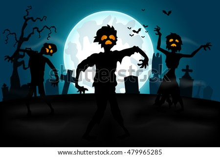 Halloween background with zombies in the graveyard