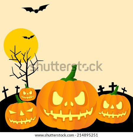 Halloween background woth Jack-o-lantern pumpkin in the graveyard, create by vector - stock vector