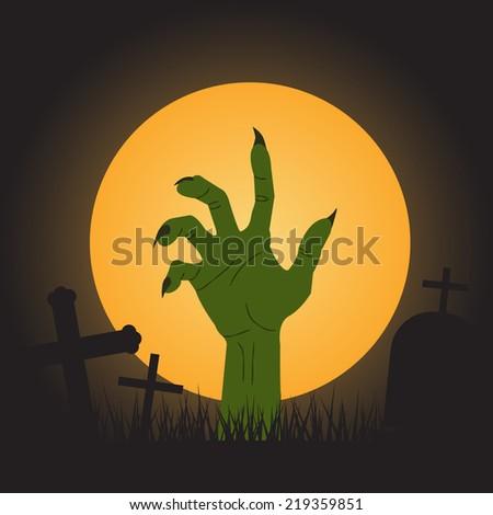halloween background, zombie hand - stock vector