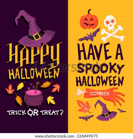 Halloween Backgrounds. Dark and light halloween designs. Vector illustration. - stock vector
