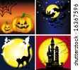 Halloween backgrounds set. decorated with yellow pumpkins, web, bats, black cats, tree branches, the castle against the backdrop of night sky, moon and stars VECTOR (See Jpeg Also In My Portfolio) - stock photo