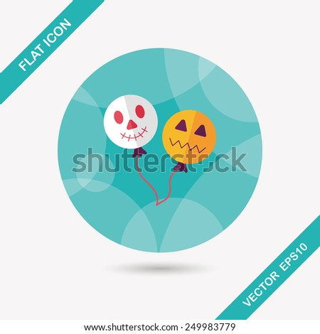 Halloween balloons flat icon with long shadow,eps10