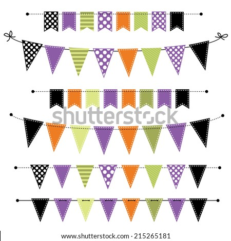 Halloween banner, bunting or flags on transparent background, for scrapbooking, vector format - stock vector
