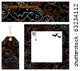 halloween banner, card and tag set with decorations - stock vector