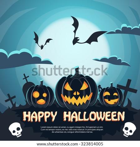 Halloween Banner Cemetery Graveyard Party Invitation Card Pumpkin Face Flat Vector Illustration - stock vector