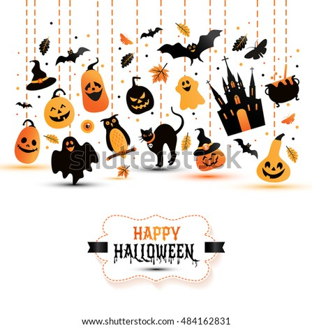 Halloween banner on white background. Invitation to night party. Vector design template for halloween celebration with icons. Set of autumn symbols.